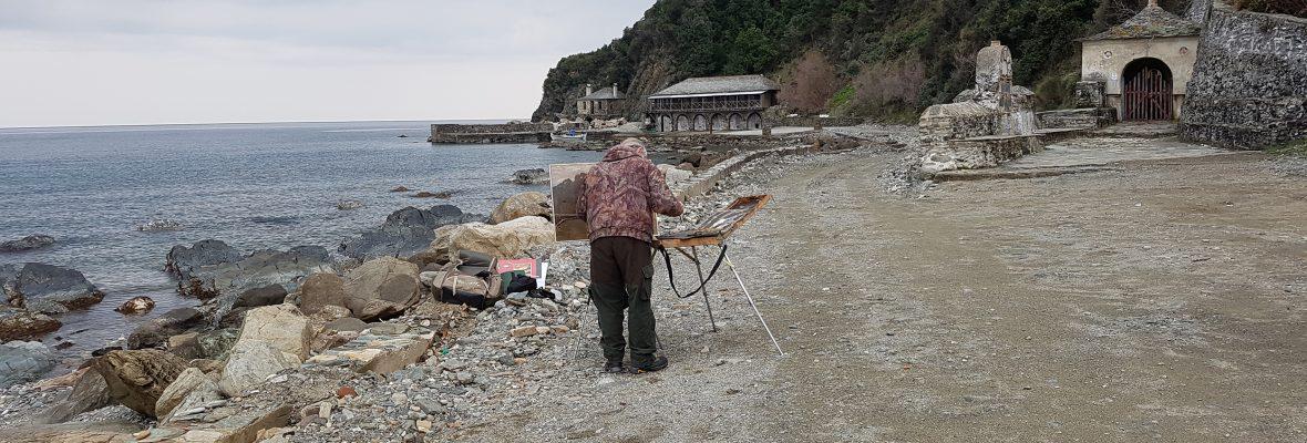Pilgern und Geocachen auf dem Heiligen Berg Athos 2: Iviron, Karakallou und ein Geocache samt Maler