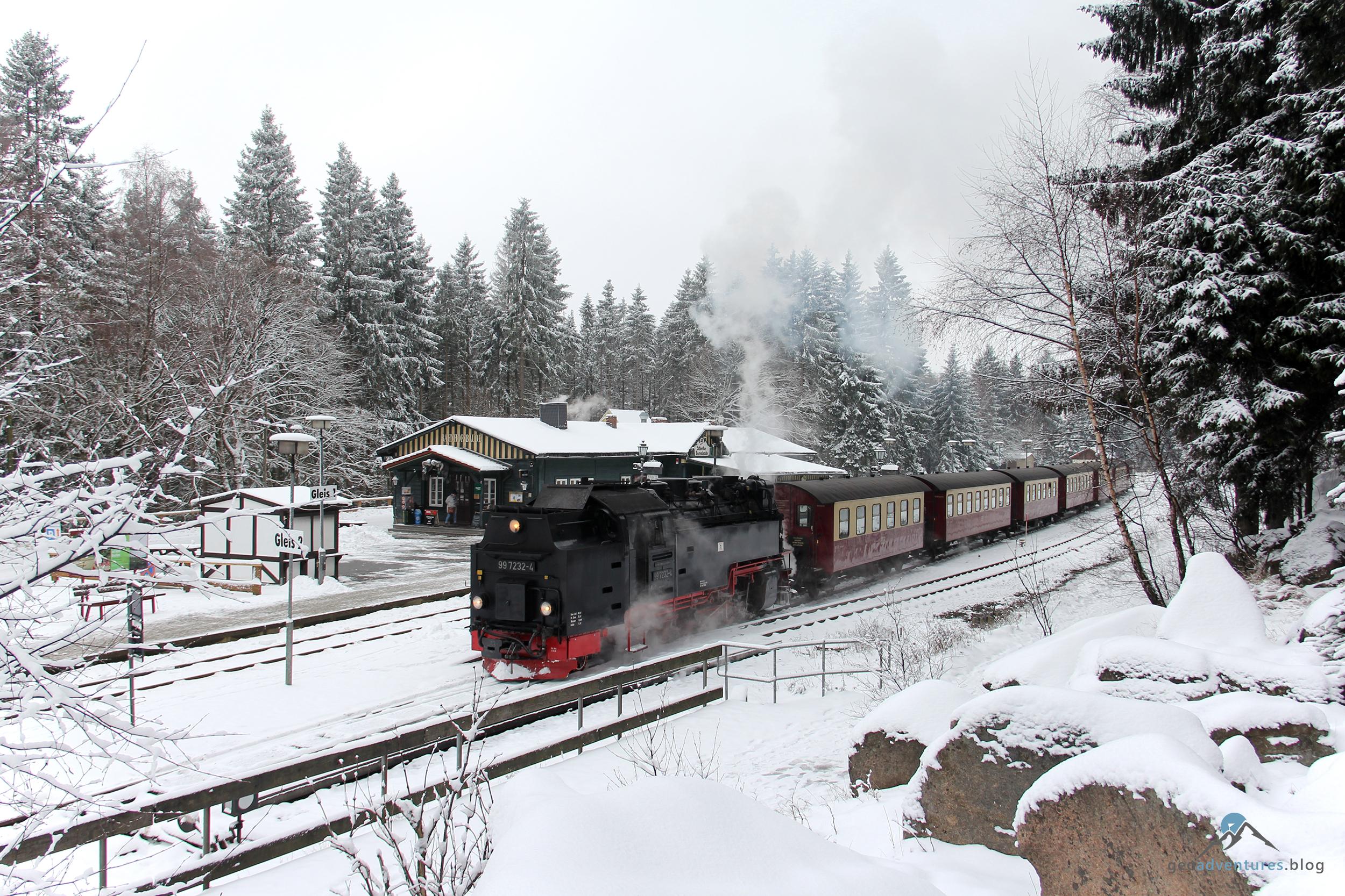 Brockenbahn im Bahnhof Schierke